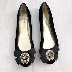 Guess by Marciano Velvet Broach Flats